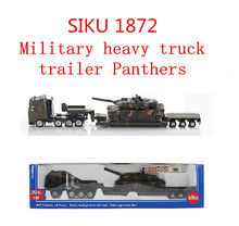 1:87 alloy military model, SIKU 1872 heavy truck trailer Panthers, high metal casting simulation pull back toys, ,free shipping(China)
