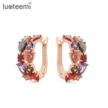 LUOTEEMI Fashion Earrings Rose Gold Color Mona Lisa Multicolor CZ Cluster Clip Earrings for Women Noble Top Quality Jewelry(China)