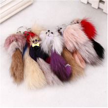 2017 New Fashion Rabbit Fur Keychain PomPom Cell Phone Car Bag Keychain girl Mouse hanging Pendant Silver Buckle Charm Key Ring