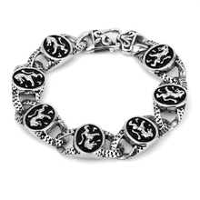 KB27828-D Fashion personality Men's titanium steel Lion Bracelet punk stainless steel wristlet best gift for boy