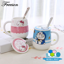 Hello Kitty Doraemon Anime Mug 500ml Ceramic Coffee Tea Cup with Lid Spoon Mat Kawaii Trumbler for Gift Cafe Teatime