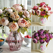 1 Bouquet 8 Heads Artificial Peony Home Wedding Faux Silk Simulation Flowers Store 48