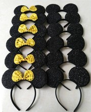12pcs Hair Accessories  Minnie/Mickey Ears Solid Black&Yellow sequins Bow Headbands for Boy Girl Birthday Party Celebration