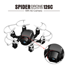 Mini FQ777-126C Spider Drone 2.4G 3D 6 Axis Gyro RC Helicopter Roll One Key Return Dual Mode 4CH with HD Camera
