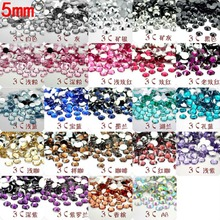 $0.99 Free Shipping Many Colors SS20 5mm 500Pcs(11G) Resin Flat back Round Flat Facets Rhinestone Nail Art Beads Decorate DIY(China)