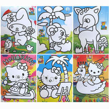 50PCS/LOT.Colored board cartoon sand art cards without sand,Sand art kit,Sand painting,15x20.5cm,Mixed design.Freeshipping.(China)