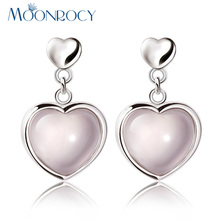 MOONROCY Free Shipping Jewelry Wholesale Silver Color Ross Quartz Pink Opal Crystal Earrings Heart for Women Girls Drop Shipping