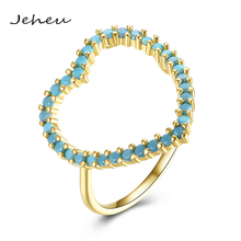 Fashion Turquoise Stone Love Heart Ring for Girl Birthday Gift Gold/Black Jewelry Finger Ring