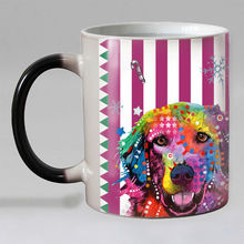 New design Colorful dogs Heat Reveal Coffee mug Ceramic Color changing Magic Mugs tea cup best gift for friends 11OZ