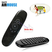 2.4G C120 MIC Speaker 6 axes Gyroscope Wireless Keyboard with Air Fly Mouse for PC Smart Android TV Box SKYPE Gaming Keyboards(China)