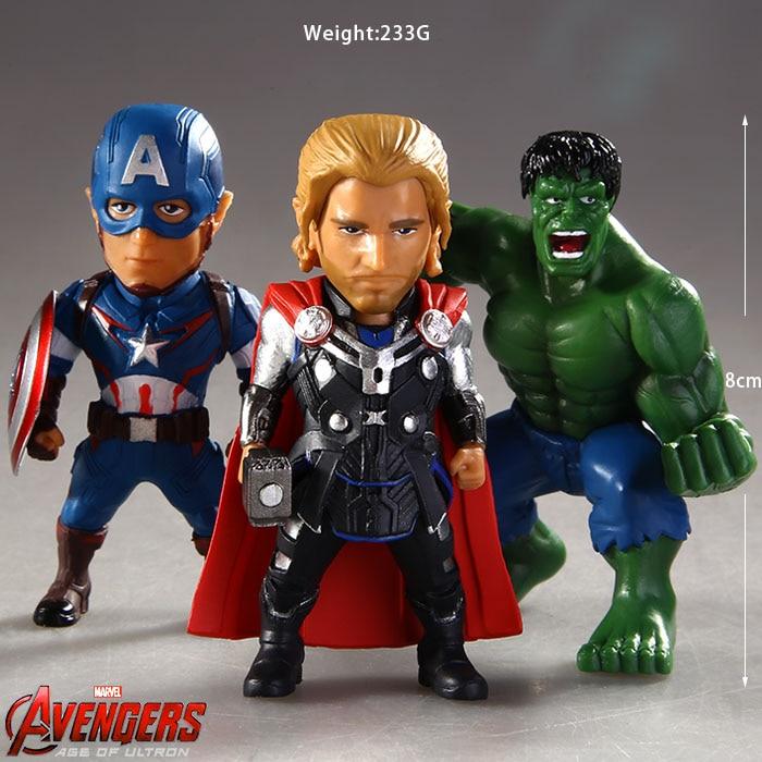 Avengers Age of Ultron Captain America Thor Hulk PVC Action Figures Collectible Model Toys 8cm 3pcs/set KT026<br><br>Aliexpress