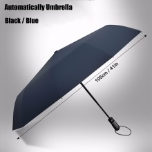 Automatic Folding Umbrella 10-Rib Strong Windproof Super Wide 46 Inch Outdoor Leatheroid Handle Black Blue Rain Umbrellas