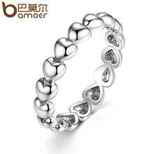 BAMOER Silver Color 4mm Heart to Heart Smooth Surface Cheap Rings Women Wedding Jewelry 3 Size Wholesale PA7219(China)
