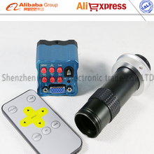 Free shipping 2.0MP CMOS HD Digital IR Remote Control VGA Industry Microscope Camera+130X C-mount Optical  Lens