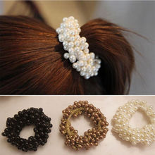 1 Pc 2017 Hot Sale New Fashion Womens Pearls Beads Hair Ropes Chic Hair Band Girl Elastic Hair Band Accessories Ponytail Holder