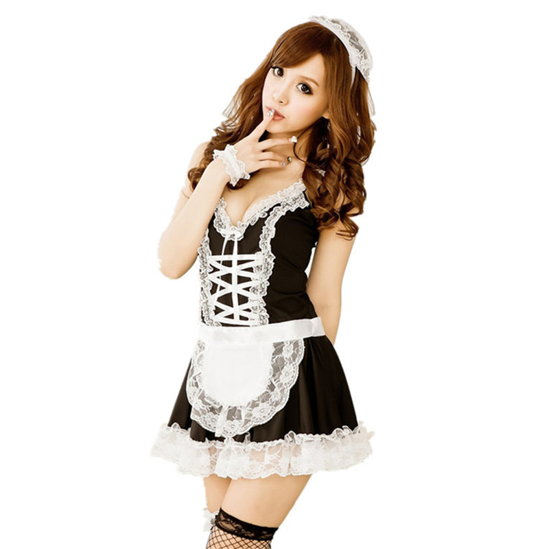 Sexy Lingerie Hot Cosplay Maid Halloween Uniform Erotic Costumes Sexy Underwear Women Lace Miniskirt Lolita Maid Outfit