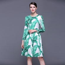 XXXXL!Top Quality New 2016 Autumn Dress Women Green Leaves Print Long Sleeve Dress Designer Style Ladies Plus Size Clothing Dres