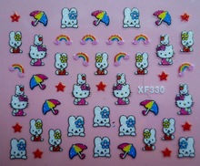 Mix Order: $0.7 XF330 Free Shipping Brand 3D Design Tip Nail Art Hello Kitty Nail Stickers Decals Carving Nail Art Decorations