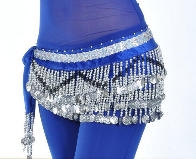 Belly Dance Hip Scarf 258 Silver Coins 150Cm Dangling Coin Belt Profession Velvet Performance Skirt Hip Wrap