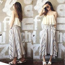 2017 Dress Suit New 2 Piece Set Skirts Summer Fashion Dresses Women Ladies Sexy Strappy Top Clothing And Loose Skit