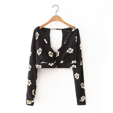 Women sexy deep V neck  backless black short blouse 2016 Summer female Sunflower print long sleeve shirt