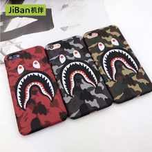 JiBan Spoof shark cell phone shell for iPhone 6 6s 7 8 plus X case camouflage protective sleeve scrub embossed hard wholesale(China)