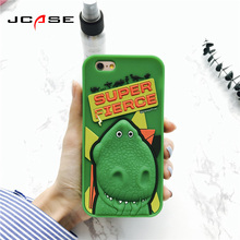 New dinosaur Cute lovely Green Cover Cell Phone Cases For iphone 7 plus Case Cheap Soft Silicone Cover For iphone 7Plus Coque