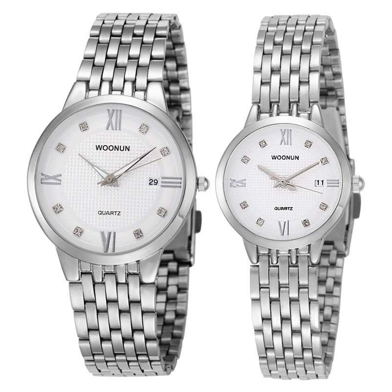 New Couple Watches WOONUN Top Brand Luxury Ultra Thin Quartz Watches Women Men Lovers Watch Set Valentine Gift<br>