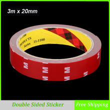 3m x 20mm Tape Double Sided Sticker Acrylic Foam Adhesive, Car Interior Tape Free Shipping(China)