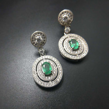TBJ,classic earring design,natural emerald earring in 925 sterling silver gemstone jewelry for women with gift box(China)