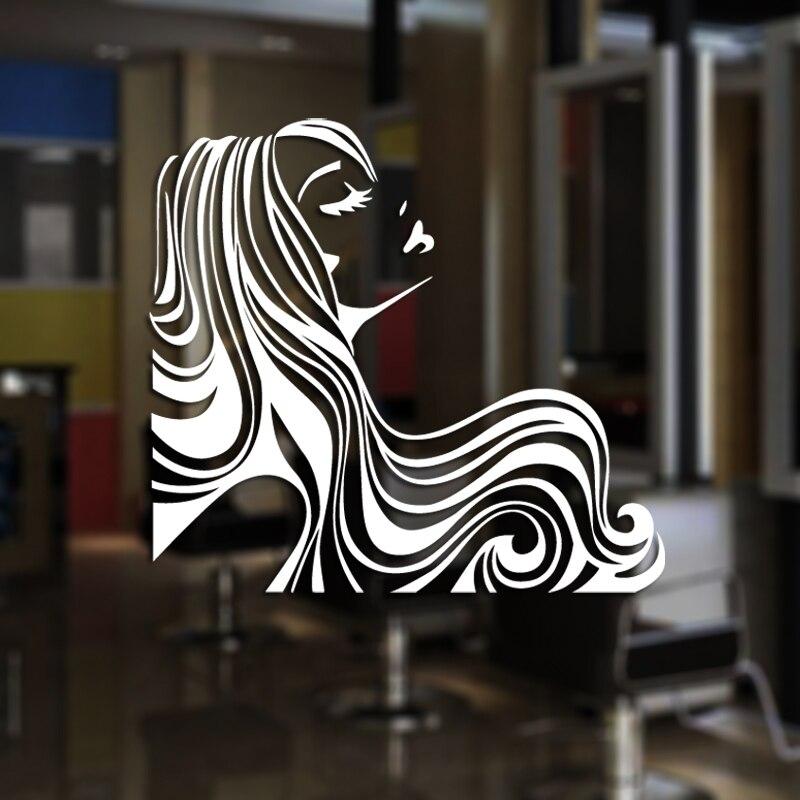 Hair Salon Sticker Beauty Decal Haircut Name Posters Time Hour Vinyl Wall Art Decals Decor Decoration Mural Salon Sticker M0044