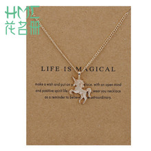 Lovely Style Unicorn Horses Zine Alloy Clavicle Chain Pendant Necklace 1pcs/bag Gold Silver For Women Pendant Accesories(China)