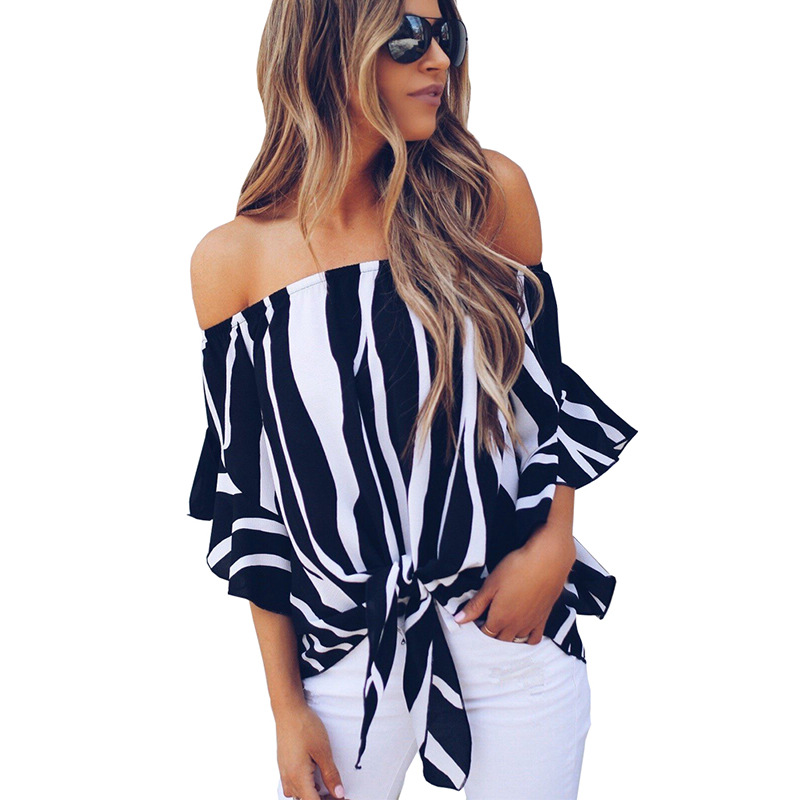LOSSKY Women's Striped Chiffon Shirts Blouse Sexy Off Shoulders Bandage Women Casual Blusas Shirt 2018 Summer Loose Elegant Tops 13