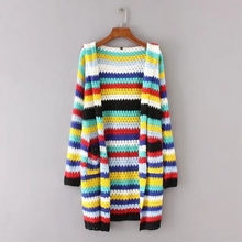 Autumn New Pattern Suit-dress European Fashion Joker Even Hat Colour Stripe Long Fund Knitting Cardigan Loose Coat A1998