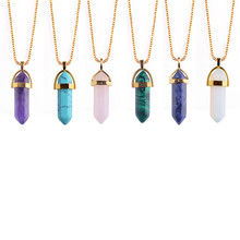 Bullet Shape Natural Stone Healing Point Pendant Necklaces Crystal Quartz Stone Necklace Women Gem stone Jewelry
