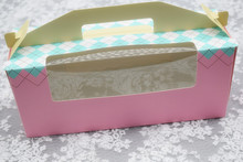 Free shipping hand portable pink green 3 cupcake box cup cake decoration muffin cake packing boxes cupcake holders party favors