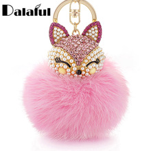 Dalaful Lovely Fox Rabbit Fur Ball Fluffy Key Chains Rings Crystal Hotsale Bag Pendant Keyrings KeyChains For Women K283(China)