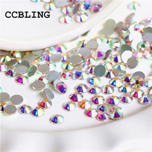 CCBLING Super Shiny SS3-ss40 Bag Clear Crystal AB color 3D Non HotFix FlatBack Nail Art Decorations Flatback Rhinestones(China)