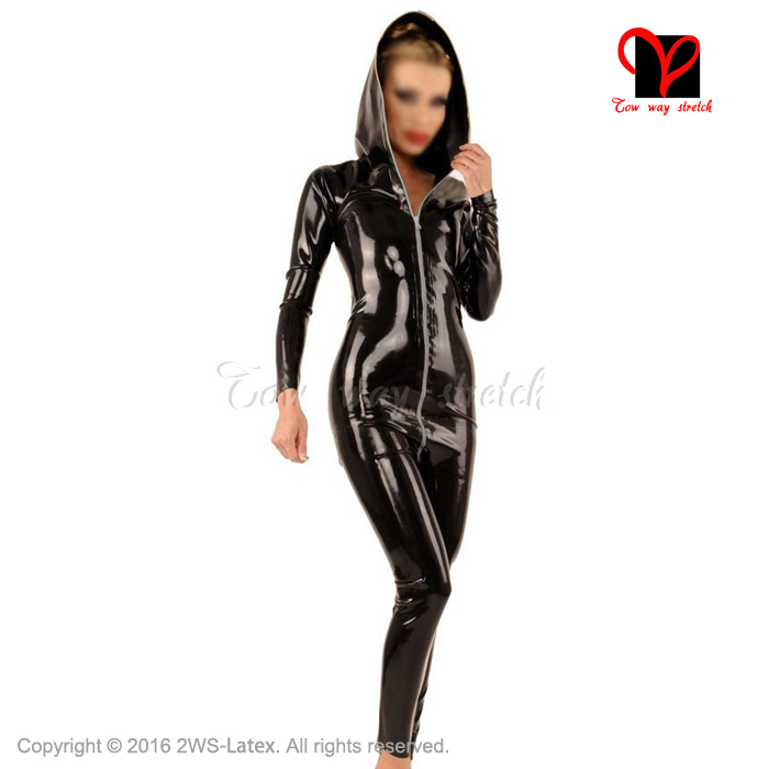 Black Sexy Hoodie Latex Catsuit Rubber zentai Leotard Gummi cat suit long sleeves unitard body stockings jumper plus size LT-025