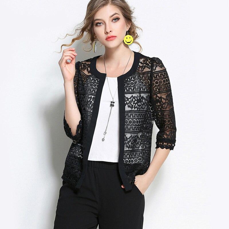 Wome Clothing Ladies White Lace Blouse 2017 Plus Size Summer Fashion Cardigan Coat Black Crochet Sexy