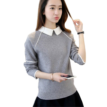 Women Pullover Sweater 2017 Winter Autumn New Fashion Warm Pullovers High Quality Solid Colors femme Turn-down Collar Sweaters(China)