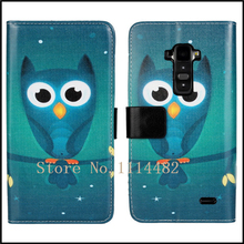 Green Night Owl Printed PU Leather Case Phone Cover Shell Bag for LG G Flex D958(China)