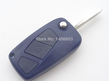 Blue Remote Key Shell Cover fit for FIAT Punto Ducato Stilo Panda Flip Key Case Fob 3 BTN uncut blade 1pc