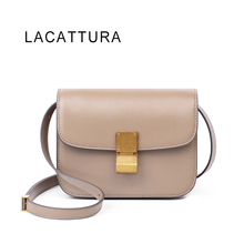 LACATTURA Hot Sale Luxury Brand Design Women Classic Celing Box It Bag Genuine Cowskin Leather Popular Shoulder Messenger Flap(China)