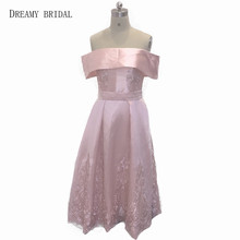 Dreamy Bridal Champagne Tea Length Prom Dresses A Line O Neck Lace Flowers Vestido De Baile Customize From China Online Shop(China)