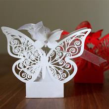 50pcs Hollow Big Butterfly Style Wedding Favor Candy Boxes Laser Cut Hollow Candy Chocolates Bags Baby Shower Gifts Bags