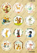 12Pcs/lot Cabochon 25mm Pattern With Cartoon animals Image Round Glass Cabochons C0267