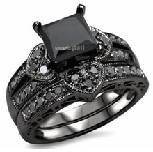 Victoria Wieck Princess cut black AAA CZ simulated stones 10KT Black Gold Filled Bridal Engagement Wedding Ring set Sz 5-11 Gift(China)