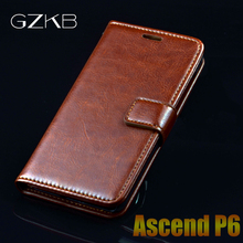 For Huawei Ascend P6 Case Cover GZKB Luxury Leather Flip Case For Huawei Ascend P6 Thin Business Wallet Phone Bags Case Cover(China)