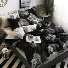Bonenjoy Black and White Duvet Cover Set 100%Cotton Printed Bedding Set Cotton Double Bed Cover Pillowcase Queen King Bedding(China)